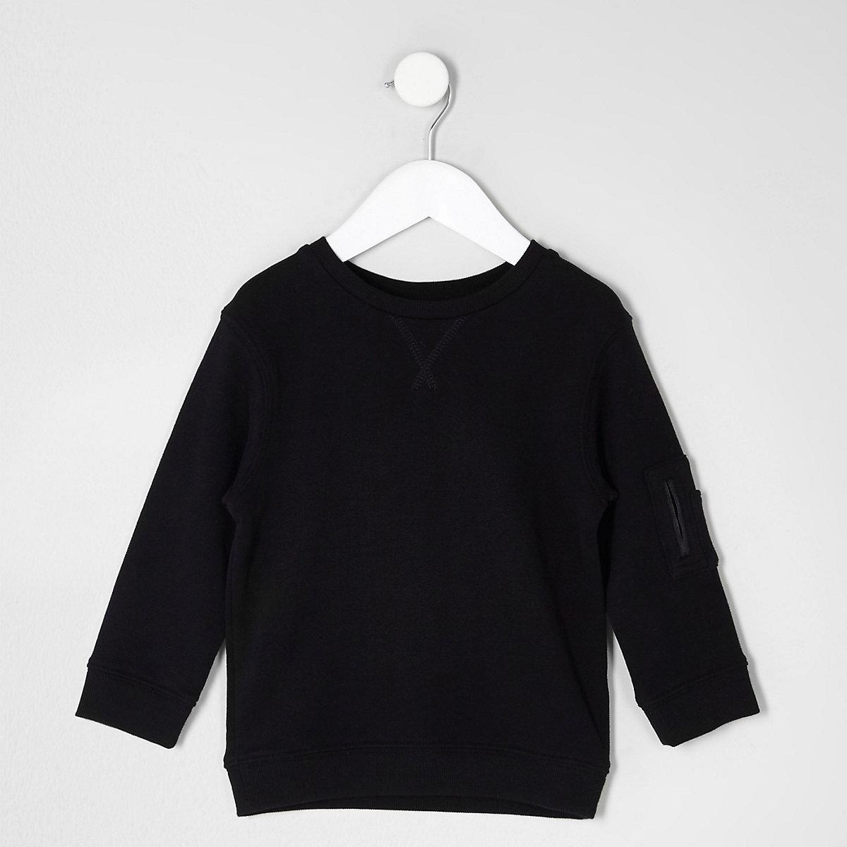 Mini boys black sleeve pockets sweatshirt