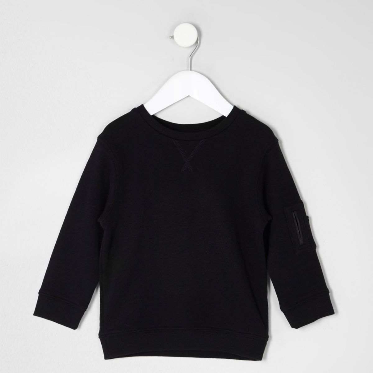Mini boys black sleeve pockets sweatshirt