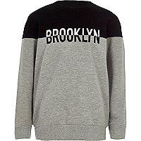 Boys grey block 'Brooklyn' sweatshirt
