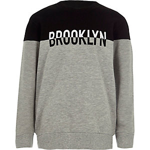 Boys grey block 'Brooklyn' sweatshirt