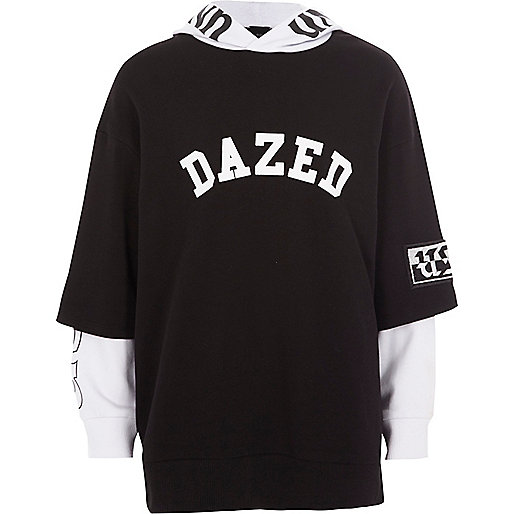 Boys black 'dazed' T-shirt contrast hoodie