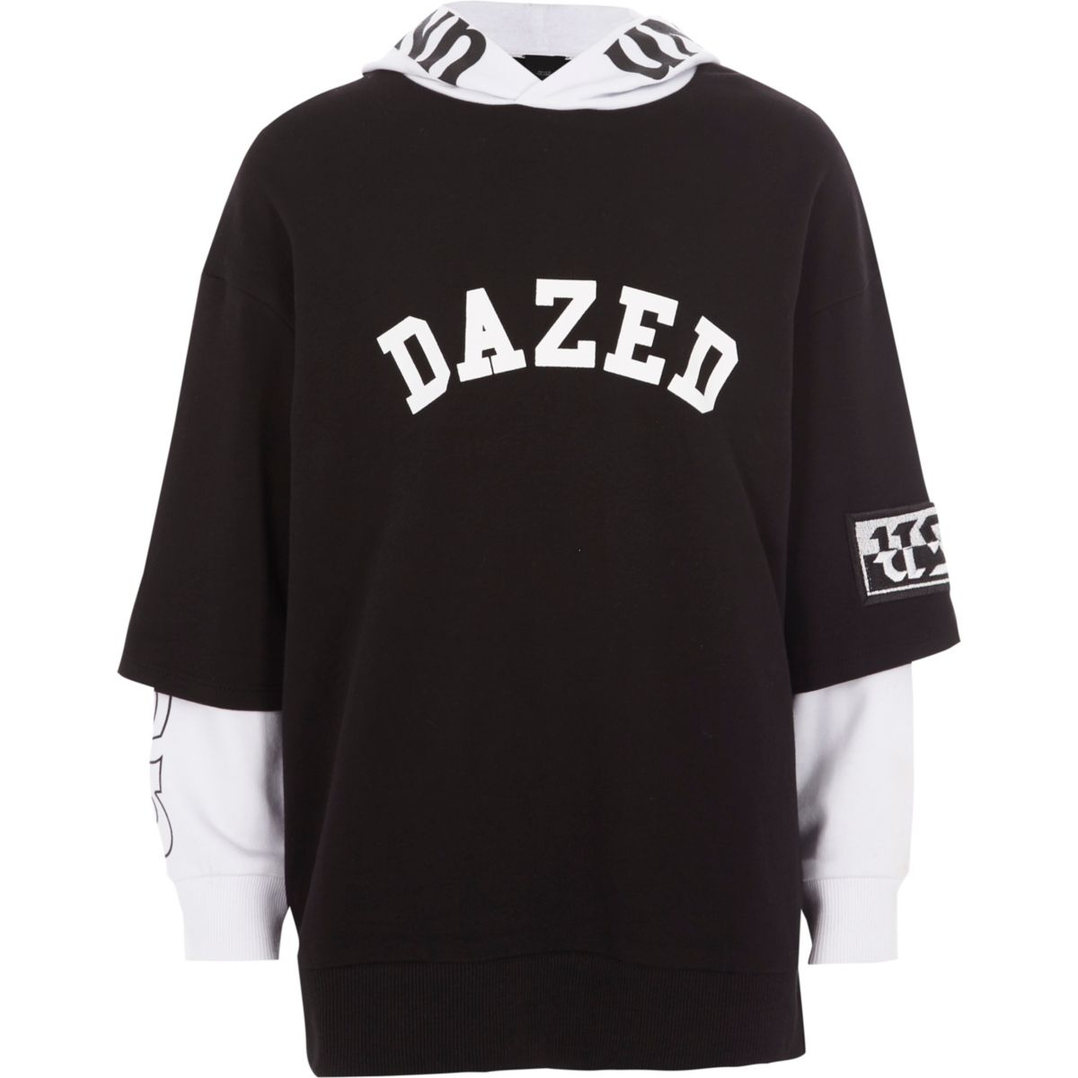 Boys black 'dazed' T-shirt contrast hoodie