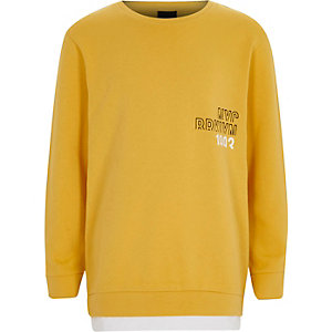 Boys yellow 'NYC Brooklyn' chest sweatshirt