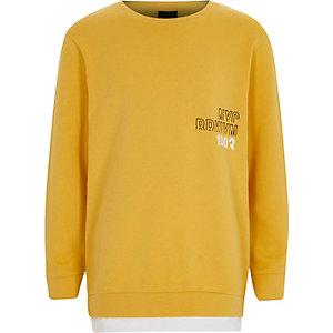 Geel sweatshirt 'NYC Brooklyn'-print voor jongens