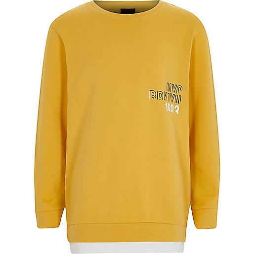 Boys yellow 'NYC Brooklyn' chest sweatshirt