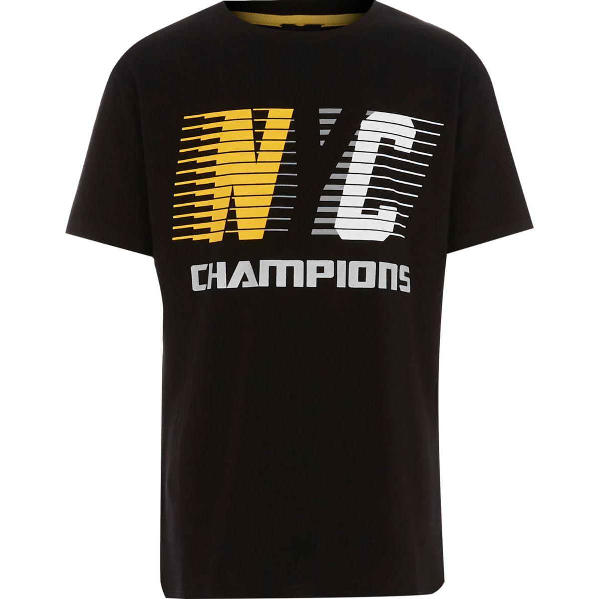 Boys black 'NYC champions' T-shirt