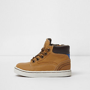 Mini boys tan lace-up boots