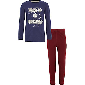 Boys navy 'wake up be awesome' pyjama set