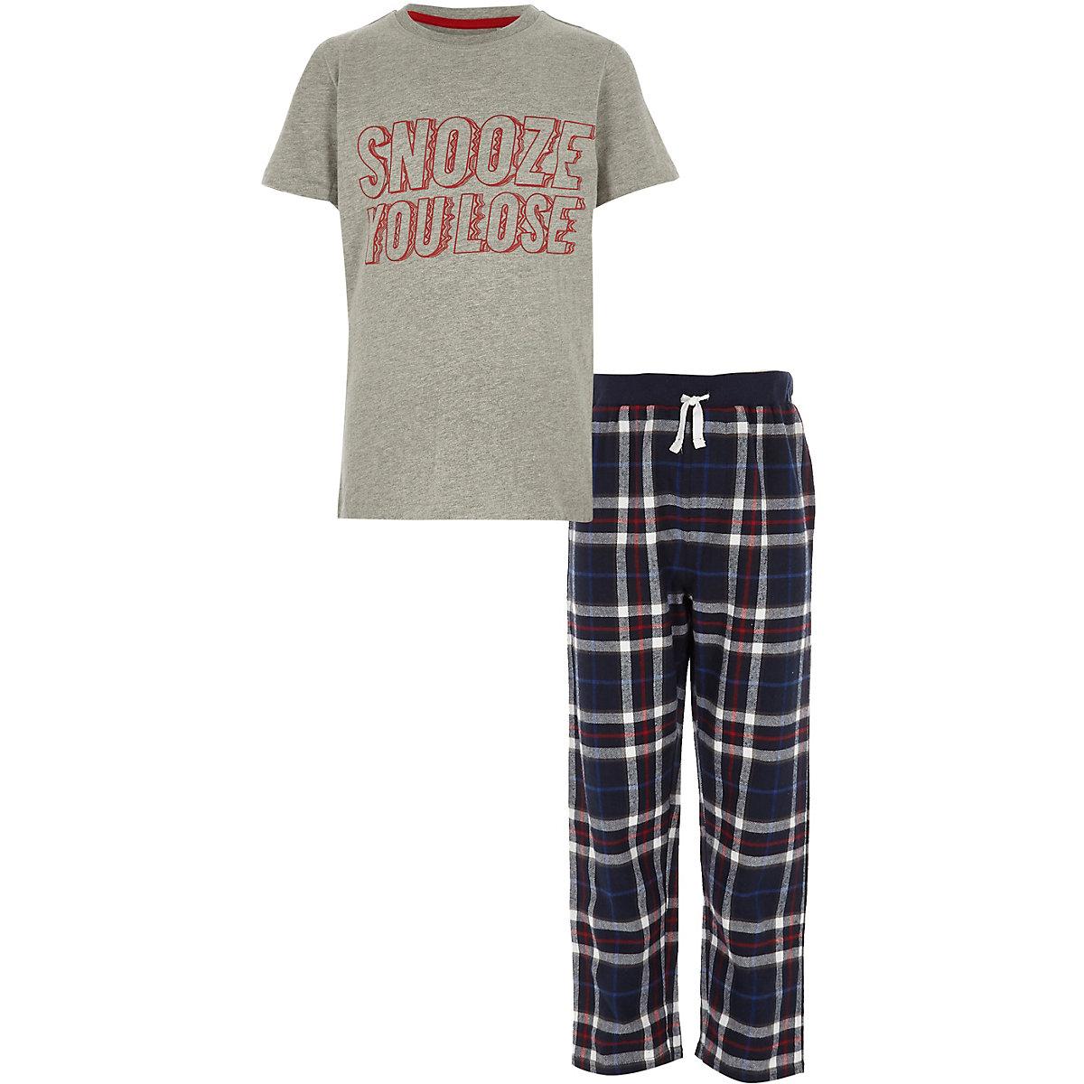 Graues Pyjamaset mit Snooze you lose-Print für Jungen