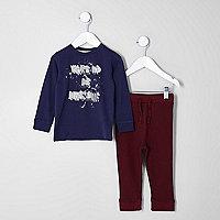 Mini boys navy 'be awesome' print pyjama set