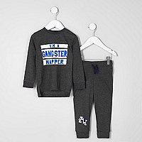 Mini boys grey 'gangster napper' pyjama set