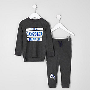 Mini boys grey 'gangster napper' pajama set