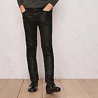 Boys black RI Studio coated skinny jeans