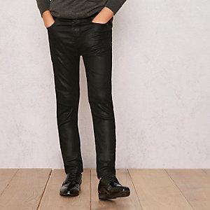Boys black RI Studio coated skinny jeans