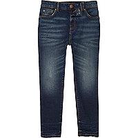Boys dark blue faded Sid skinny jeans