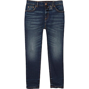 Boys dark blue faded Sid skinny jeans