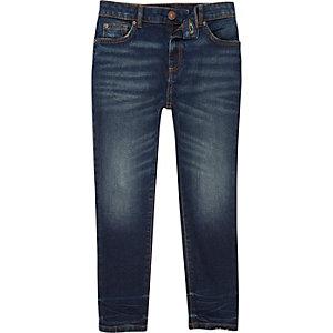 Sid - Donkerblauwe skinny jeans met faded wassing voor jongens