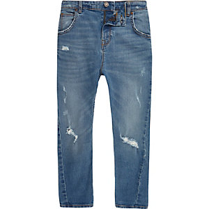 Boys blue ripped Tony slouch jeans