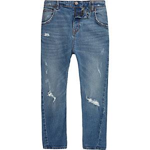 Tony – Blaue Loose Fit Jeans im Used-Look