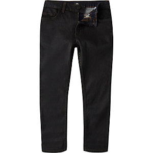 Boys black coated Sid skinny jeans