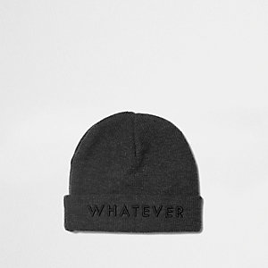 Boys grey 'whatever' beanie hat