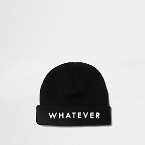 Boys black 'whatever' beanie hat
