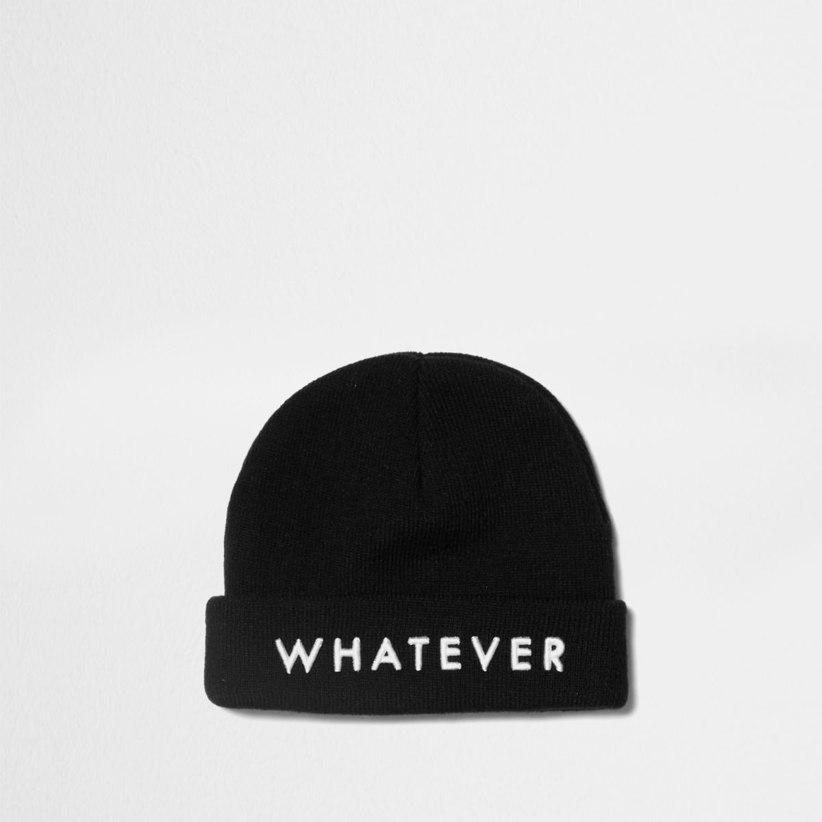 Boys black 'whatever' beanie hat