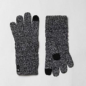 Grijze gebreide touchscreen-handschoenen met wafeldessin voor jongens
