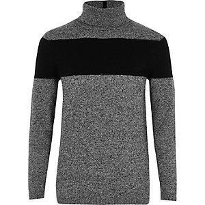 Boys grey blocked roll neck sweater