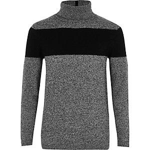 Grijze pullover met col en kleurvlak voor jongens