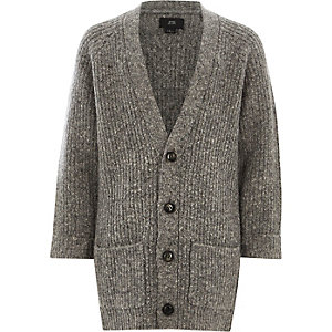 Boys grey chunky knit longline cardigan