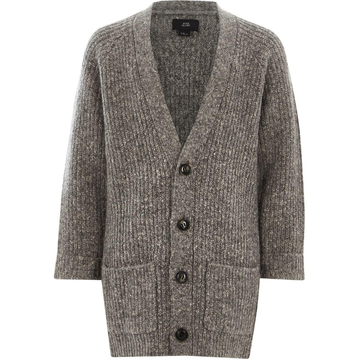 Boys grey chunky knit longline cardigan - Cardigans & Sweaters ...