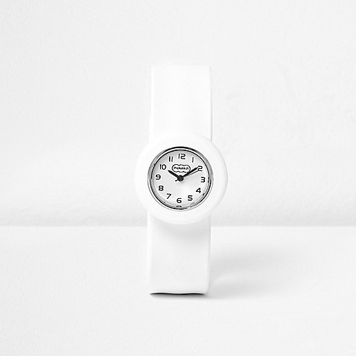 Boys white snap on watch