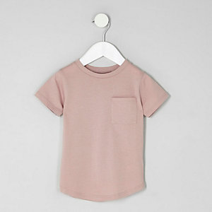 Mini boys pink short turn-up sleeve T-shirt