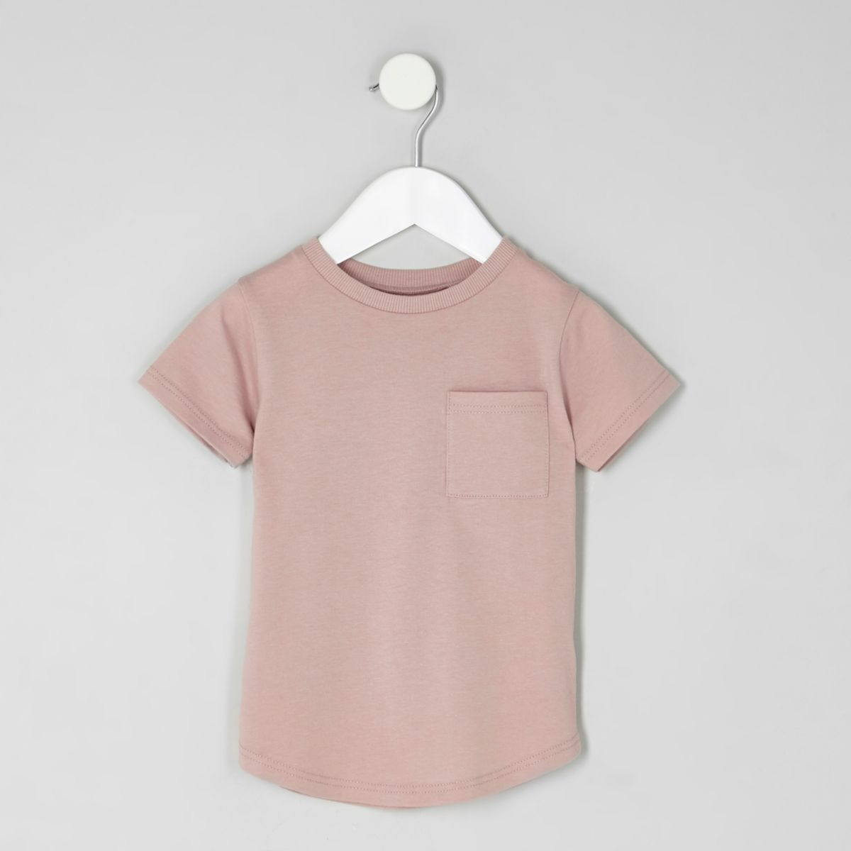 Mini boys pink short turn-up sleeve T-shirt