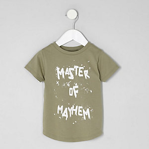 Mini boys khaki 'master of mayhem' T-shirt