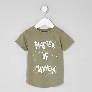 Mini - Kaki 'master of mayhem' T-shirt voor jongens