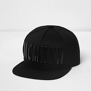 Boys black 3D roman numerals flat peak cap