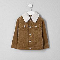Mini boys tan cord borg collar jacket