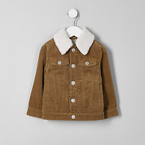 Mini boys tan cord borg collar jacket