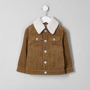 Veste en velours côtelé fauve avec col imitation mouton mini garçon