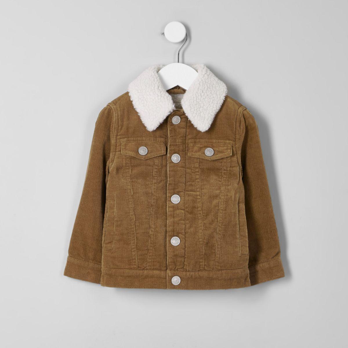 Mini boys tan cord fleece collar jacket