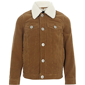 Boys tan fleece lined corduroy trucker jacket