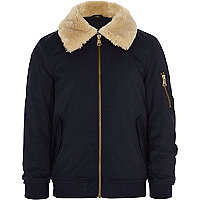 Boys navy faux fur collar flight jacket
