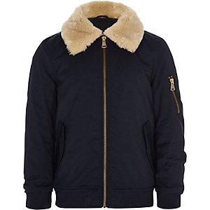 Boys navy faux fur collar flight jacket