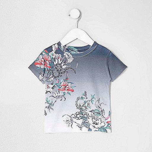 Mini boys navy floral snake print T-shirt