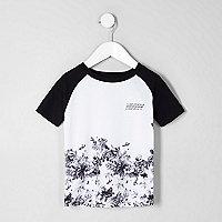 Mini boys white floral raglan sleeve T-shirt
