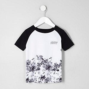 Mini - Wit gebloemd T-shirt met raglanmouwen voor jongens