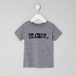 Mini - Grijs T-shirt met 'carpe diem'-print voor jongens