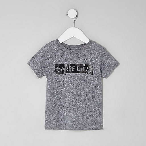 Mini boys grey 'carpe diem' T-shirt